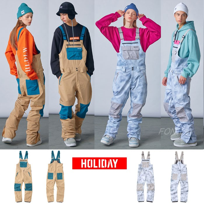 2021HOLIDAY Korean ski strappy pants waterproof outdoor single-plate wear-resistant mens and womens gray and white khali color