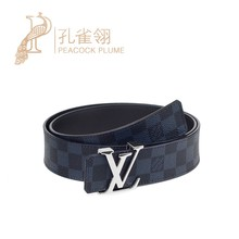Louis Vuitton / Louis Vuitton classic double sided men's chessboard belt m0087q leather LV belt