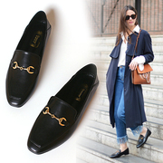 Flat square scoop shoes spring 2017 new British style flat loafer flat with small loafer shoes