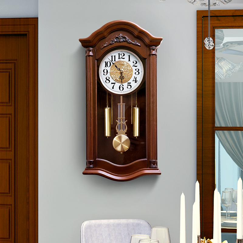 Chinese classical whole point music time solid wood wall clock Japanese Seismo old-fashioned Chinese wind living room clock 錶 decorative table