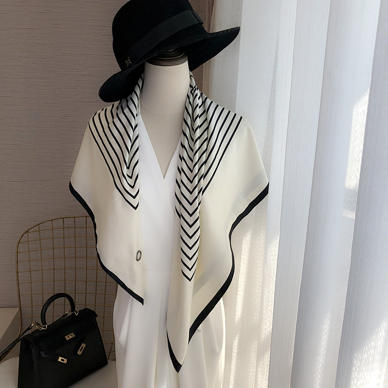 French lazy people with button-down silk scarf simple black and white striped large scarf womens fashion scarf shawl two uses