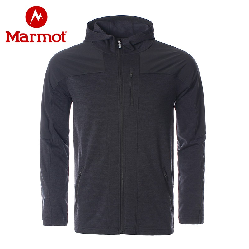 marmot earth rat spring and autumn new outdoor wear-resistant breathable fast dry mens elastic cardigan with a hooded velvet jacket