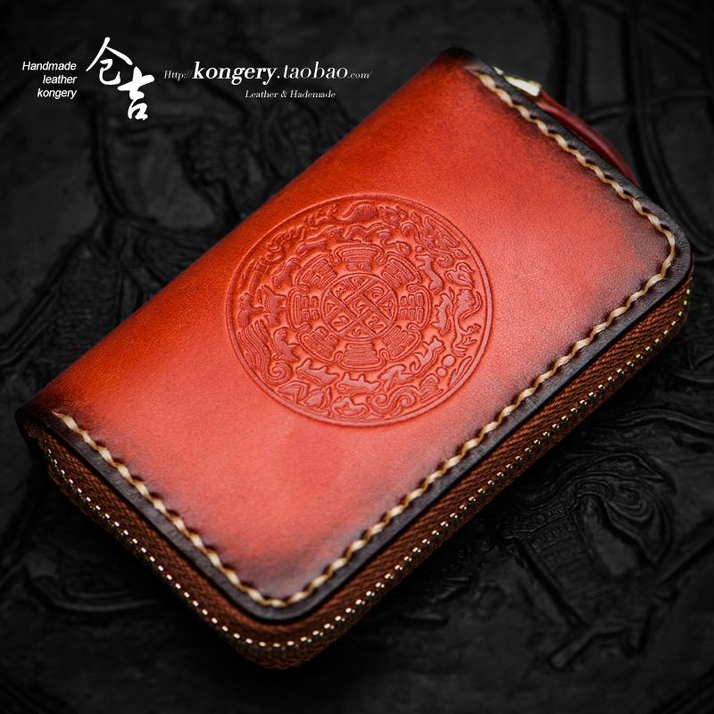 Cangji hand key bag mens and womens leather short zipper mens leather card bag retro zero wallet key fob