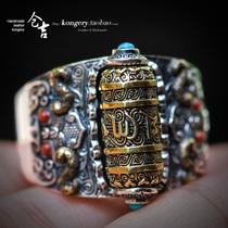 Cangji ручной работы S925 серебра ретро мода кольцо шесть слов истинного мужского властного указательного пальца кольцо открытое кольцо.