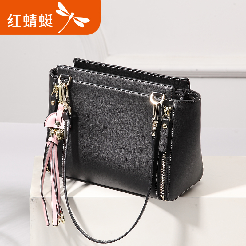 Red 蜻蜓 female bag 2018 new summer bag female tassel bag shoulder diagonal bag versatile small square bag fashion