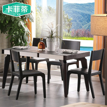 Dining Tables and chairs dining cabinets combination modern simple table small household rectangular burning stone solid wood table