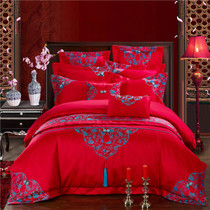 Wedding four sets of red embroidery wedding bedding six sets of 1 8m bed wedding bed ornaments satin jacquard