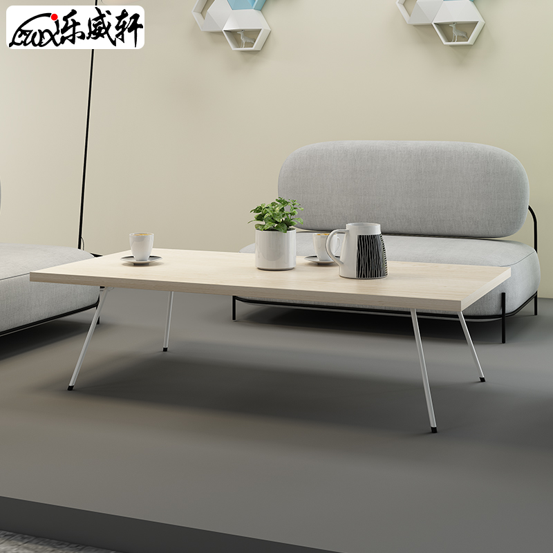 Le Wei Xuan coffee table simple modern office guest coffee table tea table simple iron frame feet long a few wood-colored corners