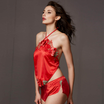 Female adult belly-style underwear love bedwear ancient court sexy wedding couple suit pajamas red 牀 up