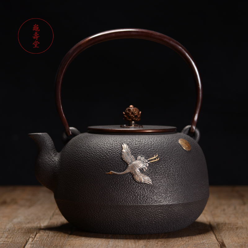Iron pot Turtle Shoutang Japanese handcrafted l gold and silver moth uncoated cast iron pot old iron pot boiling water iron teapot