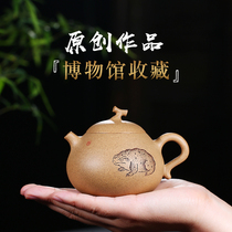 Yixing famous master pure hand-made purple sand pot original mine section mud eggplant section Xishi household tea pot set