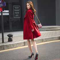 Red coat female long section of the 2020 new Korean version of the popular womens short spring and autumn coat short section