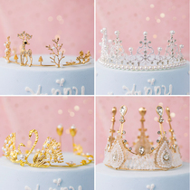 Cake decoration pendant Crown birthday party dress up supplies Pearl Swan Crown Crown Queen cake decoration