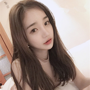 South Korea female wig long straight hair in bangs in the length of hair natural black shoulder clavicle pear head
