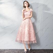 Evening dress 2018 New Summer banquet midi dress female pink dignified atmosphere show skinny dress dress