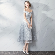 Evening dress 2018 New style long bi-summer dress woman one word shoulder lace dignified atmosphere dress Bridesmaid Costume