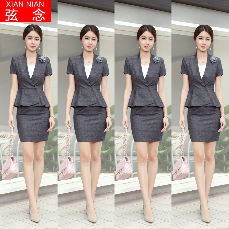Professional dress Temperament goddess fan fashion suit suit Female summer sales office tooling Beauty salon jewelry shop overalls