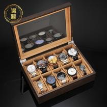 Li Li watch box Storage box Wooden jewelry box Buddha beads box Bracelet box Household simple watch box Watch box Collection box