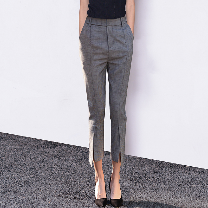 Vandani spring summer and autumn temperament style suit pants women nine points casual small foot pants open fork thousand birds grid commute eight-point pants
