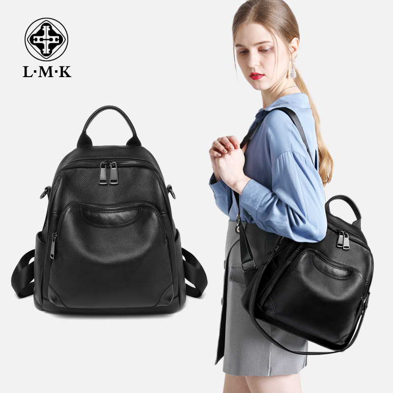 France LMK travel backpack female leather shoulder travel 2018 new soft leather large capacity first layer leather bag