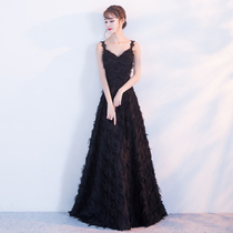 Banquet evening dress 2018 New dignified atmosphere black long section was thin host annual meeting strap dress skirt female