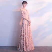 Pink Bridesmaid Dress 2018 new dignified big long style thin presenter Dinner Party Evening Dress long skirt female