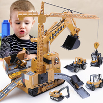 Childrens excavator crane toy multi-functional 3-year-old boy 4 large two engineering car set puzzle three four hook machine