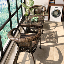 Balcony small table and chair leisure outdoor open-air network black tea a few outdoor courtyard Teng chair rattan chair three sets of combination