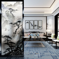 Art glass partition screen home decoration living room corridor introduction Xuanguan mountain ink painting