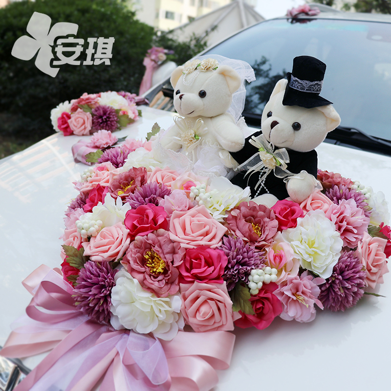 Europe and the United States antique wedding car decoration set to increase the number of simulation flower doll heart plate Korean wedding bride flower car