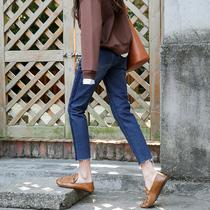 Version coréenne de jeans straight irrégulière lâche et mince jambes