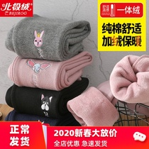 Girls leggings outer wear female baby plus velvet thickening one cotton pants childrens wear spring Western spring and Autumn Winter