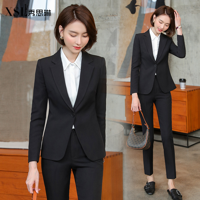Black work clothes suit womens autumn and winter fashion temperament ladies workplace work dress interview work clothes
