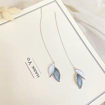 Seven miles a touch of blue ear line 2021 new trend original niche design long temperament 925 sterling silver studs