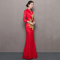 Spring red lace chinese style fish wedding dress