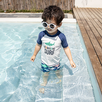 Childrens swimsuit boys ins two-piece sun protection speed dry swimsuit baby boy beach pants hot spring