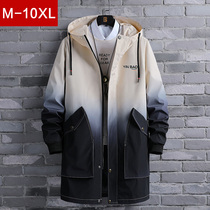 Gradually layered windcoat mens middle-length version of spring and autumn plus fattening plus size fat teen trend loose handsome clothes jacket