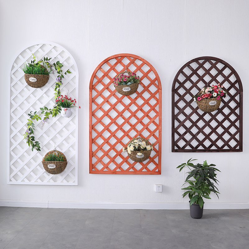 Outdoor anti-corrosion wood fence impotence decorative wall flower rack grid garden guardrail solid wood climbing rattan frame