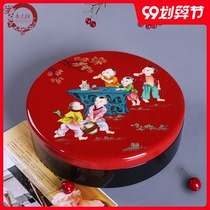 Jin Yuan Yu Chinese New Year home painted dried fruit box sub-grid with lid wooden candy box living room lacquerware pieces