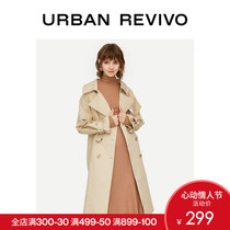 UR2019 autumn and Winter new products youth womens fashion elegant waist solid color turndown trench coat YU42S1DS2000