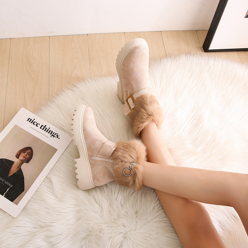 Snow boots women 2020 new style Martin boots women's shoes autumn and winter short boots fur one cotton shoes women winter plus velvet thickening