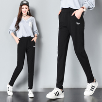Sports pants women spring and autumn and winter loose cotton black trousers shut pants plus velvet straight pants breathable Wei pants leisure