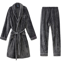 Autumn and winter flannel robe mens two-piece pajamas warm thickened coral velvet bathrobe mens bathrobe plus pants