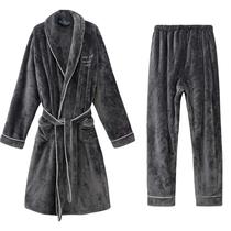 Осень и зима фланелевая халат мужчины из двух частей пижамы теплый утолщенный коралловый бархат халат мужчины и женщины халат плюс брюки