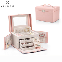 Velando jewelry box Small exquisite hand jewelry ring earrings necklace Large capacity storage box European high-end luxury