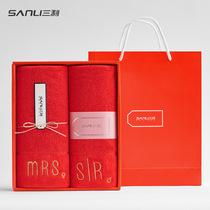 Сан Li лицо полотенце свадебный набор свадьбы полотенце пара красных полотенце свадьбы хлопок большое полотенце мужчин и женщин