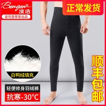 Down pants men wear 2019 winter was thin warm tight middle-aged and elderly bottoming thick cotton pants slim leggings