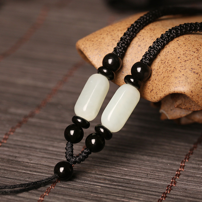 Hetian jade pendant pendant jade pendant rope jade-pei pendant rope jade Buddha sling male and female necklace rope