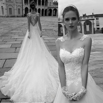 Fashion simple Europe and the United States Court vintage skinny Long tailed wedding dress