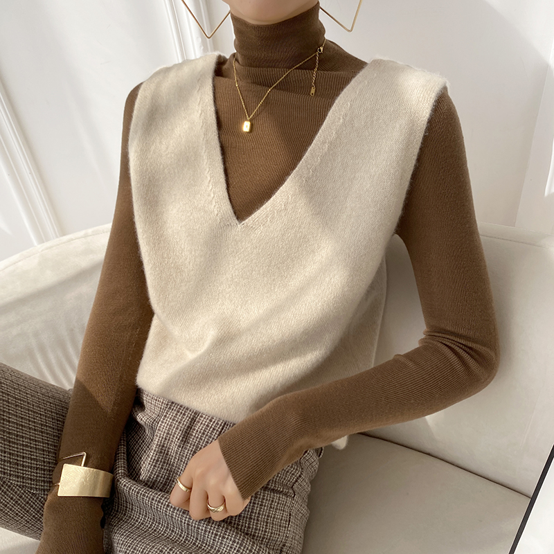 Fashionable tone - 2020 new foreign pie thickened pure Kashmir wool vest female loose knitted outer sweater